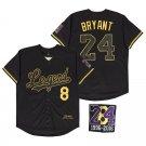 Men's #8 #24 KB Legend Black Golden Baseball Shirt 824 Patch Stitched