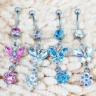 Butterfly & Flower Crystal Navel Belly Button Ring 4 Colors Available