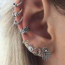 8-Ear Drop Hoop W/ Cuffs Earring Set