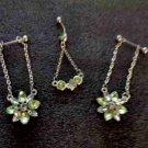 Flowers Green Crystals Navel & Nipple Bar Set
