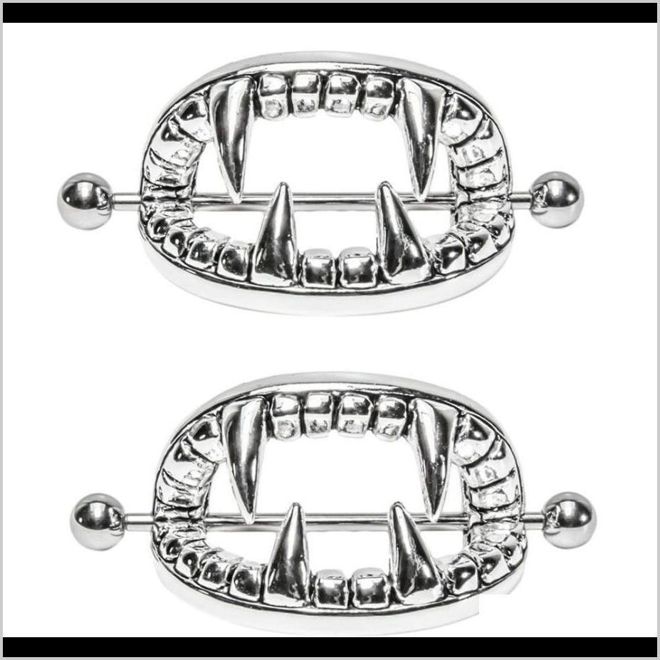 Pair ~ Silver Or Gold Vampire Teeth Nipple Bars