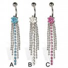 Flower Long Tassel Crystals Navel Belly Button Ring ~ 3 Colors Available