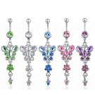 Butterfly Crystals Navel Belly Button Ring ~ 5 Colors Available