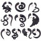 Black Geometric Acrylic Spiral Ear Taper Stud Earring