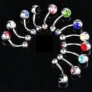 Birthstone Surgical Stainless Steel Navel Barbell Ring