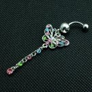 Colorful Butterfly Crystal Navel Ring