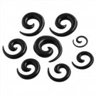 12Pcs Acrylic Spiral Ear Stretching Tapers ~ BLACK