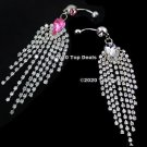 Long Dangling Crystals Navel Belly Button Ring  ~ 2 Colors
