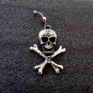 Silver Skull & Cross Bones Navel Ring