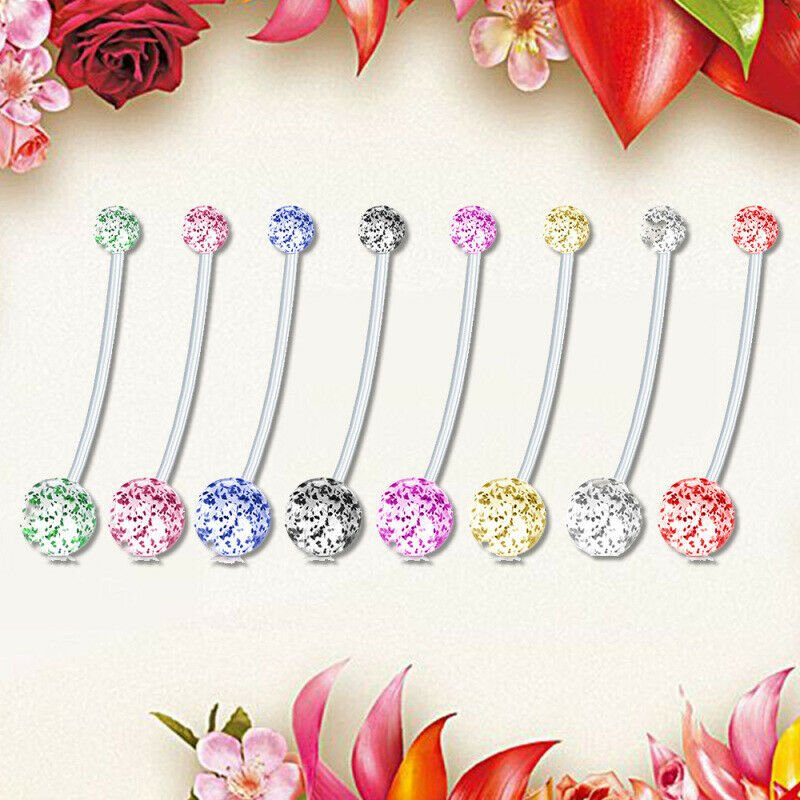 Maternity Belly Bar Flexible Crystal Pregnancy Navel Ring Belly ~ 8 Colors