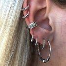 7 Silver Drop Hoops Earrings