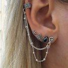 5-Ear European Drop Chain Hoop Earrings Set