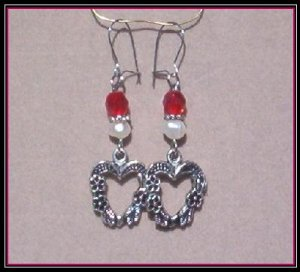 Antique Silver Floral Heart, Freshwater Pearl Ruby Crystal Earrings