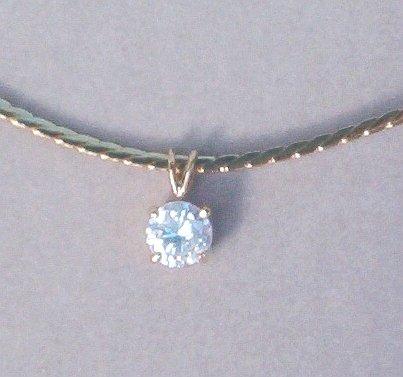 CZ Diamond Pendant on 16 inch Cobra Link Gold Overlay - Vintage