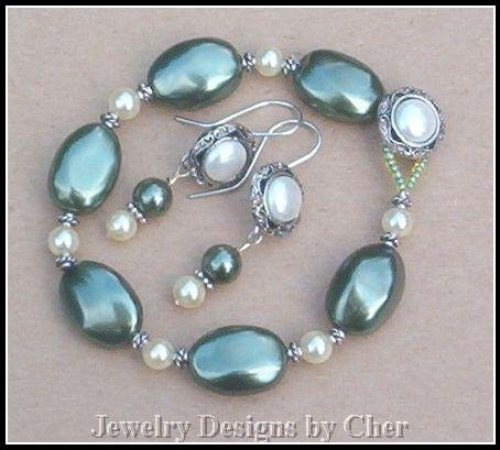 OLIVE  IVORY PEARL Antique Silver Button 2PC Set