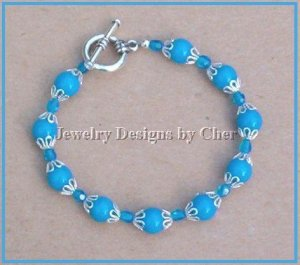 TURQUOISE Mountain Jade & Crystal TOGGLE BRACELET