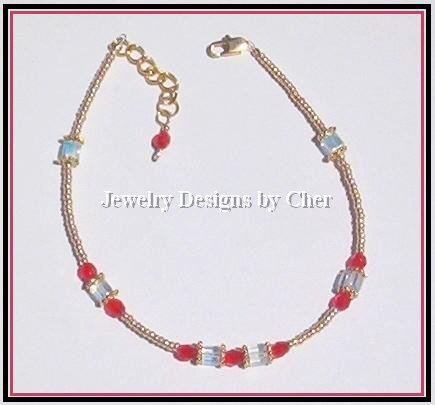 LADY IN RED ANKLET, Gold Vermeil & Crystal AB Cubes ADJUSTABLE!