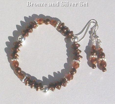 BRONZE BEAUTY  Bronze Crystal Silver Stretch Bracelet - Earrings