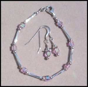 PINK CRYSTAL AB CUBE STERLING SILVER 2Pc SET