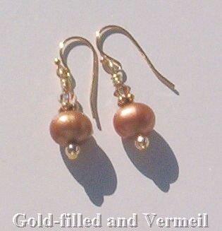 Gen COPPER PEARL & Swarovski CRYSTAL Gold Earrings