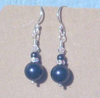 Swarovski MIDNITE BLUE PEARL & CRYSTAL SS Earrings