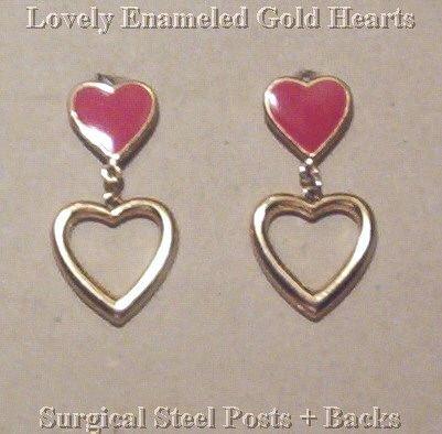 Vintage RED ENAMEL & GOLD OPEN HEART EARRINGS!