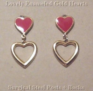 Vintage RED ENAMEL & GOLD OPEN HEART EARRINGS!