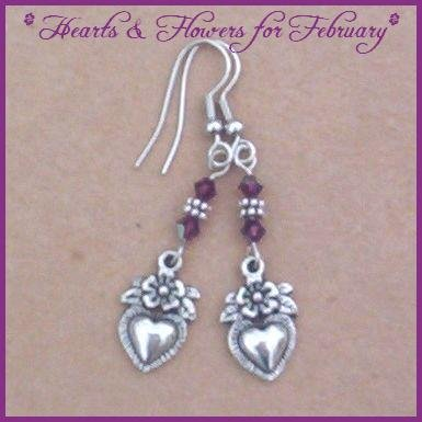 Swarovski AMETHYST CRYSTAL Hearts Floral Earrings SALE