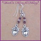 Swarovski AMETHYST CRYSTAL Hearts Floral Earrings SALE