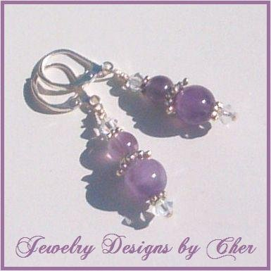 Genuine AMETHYST & SWAROVSKI CRYSTAL Bali Silver Earrings
