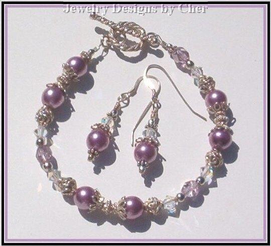 Violet Pansy PEARL CRYSTAL  Bali Sterling Silver SET