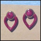 VINTAGE BURGUNDY HEARTS Goldtone Studs SALE