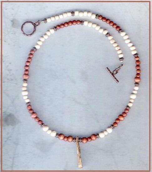 LEOPARDSKIN JASPER WOOD & COPPER 16 In Necklace