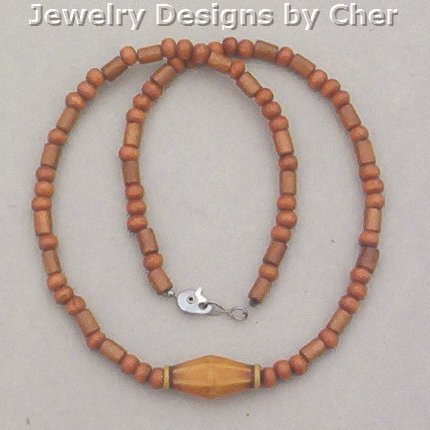 WOOD BEAD NECKLACE Warm Brown 16 Inch UNISEX