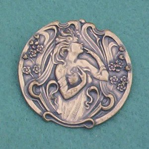 Vintage Brass Art Nouveau Pin/Brooch... Mistress of Flowers in Repousse