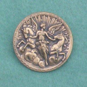 Antique Brass Repousse Angel Pin/Brooch... Art Nouveau Vintage Stamping