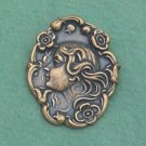 Antique Brass Repousse Large Cameo Pin/Brooch... Vintage Art Nouveau