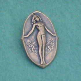 Vintage Nubian Goddess Oval Pin/Brooch... Antique Brass Art Nouveau