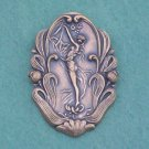 Vintage Art Nouveau Wood Nymph Pin/Brooch... Antique Brass Repousse