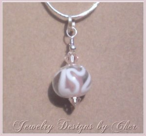 *PINK FROSTING* LAMPWORK PENDANT Silver 18 In Snake Chain