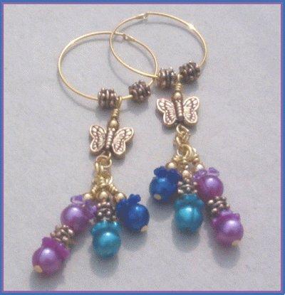 Purple & Blue Floral Butterfly Gold Endless Hoop Earrings... Long Dangles!