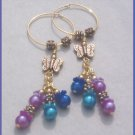 Purple & Blue Floral Butterfly Gold Endless Hoop Earrings... Long Dangles!