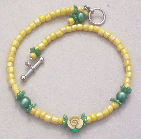 YELLOW ROSE FLOWER BEADED ANKLET Toggle Closure 10 Inches