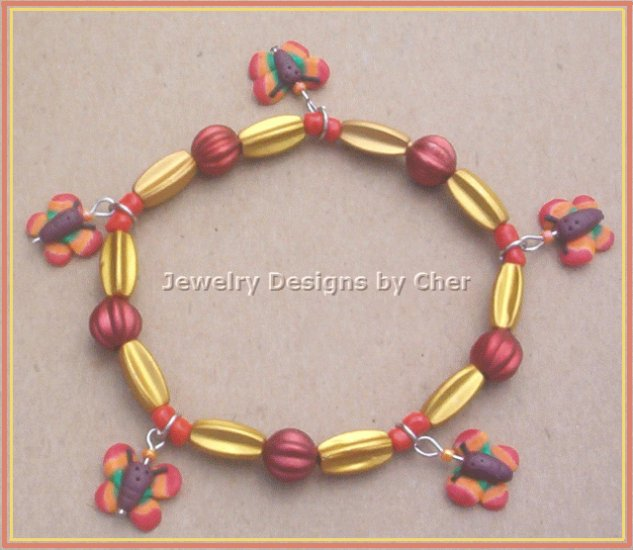 Bright Orange & Yellow Butterfly Stretch Bracelet, One Fun Size!