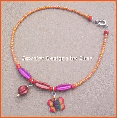 BRITE BUTTERFLY FIMO CHARM ANKLET Vibrant Colors!