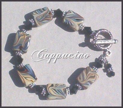 *CAPPUCINO* LAMPWORK TOGGLE BRACELET Antique Silver