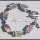 *CAPPUCINO* LAMPWORK TOGGLE BRACELET Antique Silver