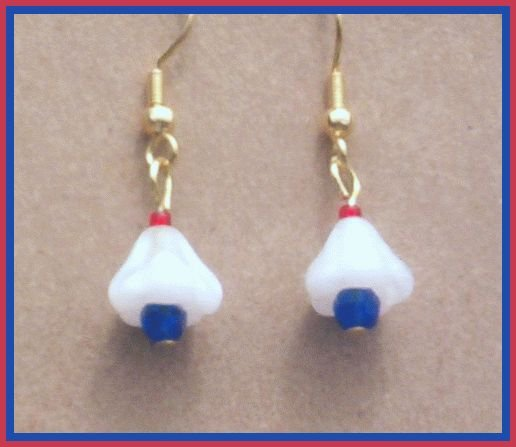 RED WHITE BLUE Flower Earrings