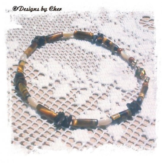 TIGER EYE Mother Of Pearl Anklet Earthtones!