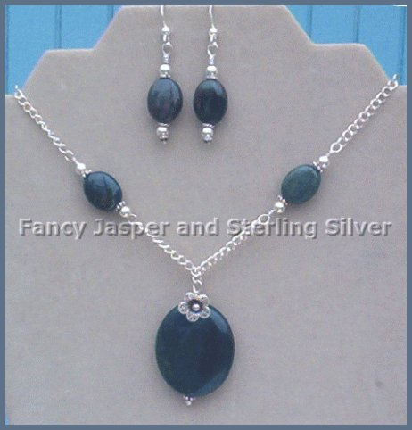 Fancy JASPER & Fine SILVER 2PC SET